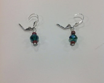 Green Swarovski crystal earrings with bead accents