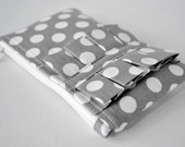 Womans ruffle coin purse wallet polka dot spots in light grey and white with pleats.