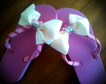 pink flip flops with pretty pink and white polka dot ribbon, white flip flops, with white skull bow, little girls size 13/1