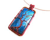 "Tree of Life Pendant  - Bright Marbled Blue Fire Agate Cabochon and Chestnut Wire - 1.5"" x 3"" - Cord Included"