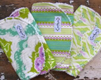 Lime, Lavender and Aqua - Girl Burp Cloths - Lottie Da - Floral Damask, Stripe & Butterflies - Set of 3
