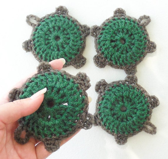 Nylon Turtle Dish Scrubbies - Set of 2 through 8 - Pine Tree Green and Chocolate Brown Pot Scrubber