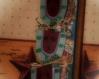 Watermelon Garland Country Kitchen Primitive Home Decor Wall Sign