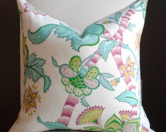 Beautiful Decorative Pillow Cover-Floral-20x20- Ideology- Teal-Green-Chartreuse-Rose-White