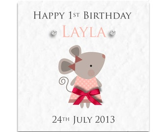 Personalised Girls Mouse Birthday Card - Daughter, Granddaughter, Niece, Sister!