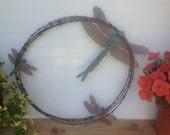 Metal Dragonfly Barbwire Wreath, Metal Garden Art, Family of Dragonflys Framed in Barbwire