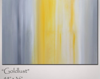 Painting Abstract Art Yellow and Grey, Large 48x36, Original Abstract Painting