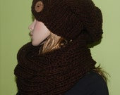 Modern Set - Women/Teen Slouchy Chunky Hat and Tube Scraf Set  - Slouchy Hat with Eco Button and Soft Tube Scarf in Brown