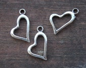 10 Silver Heart Charms 20mm Antiqued Silver