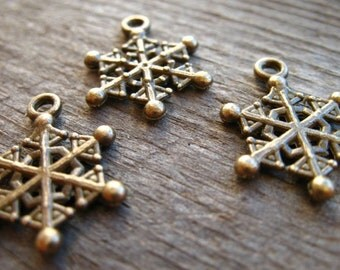 12 Bronze Snowflake Charms 20mm Antiqued Bronze Nickel Free