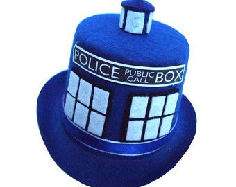 Police Public Call Box Mini Top Hat in Blue