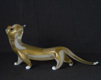 ARCHIMEDE SEGUSO Mid-Century Murano Glass CAT Leopard Kitten Figurine