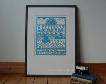 LESS than HALF PRICE I'm dreaming of the seaside - a laser cut from an original paper cut by Loula Belle At Home
