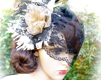 "Black Feather Fascinator Headpiece, LACE BIRDCAGE VEIL ""Astrid"", Custom Birdcages by Vegas Veils"