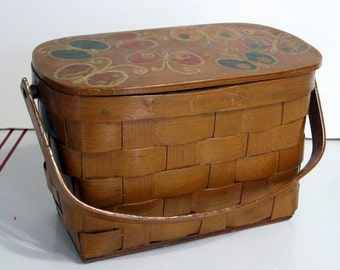 Vintage Box Purse Woven Wood Decoupage Basket Butterflies