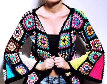 Vintage inspired Granny Sequere Crochet Bolero Jacket Large long Sleeve