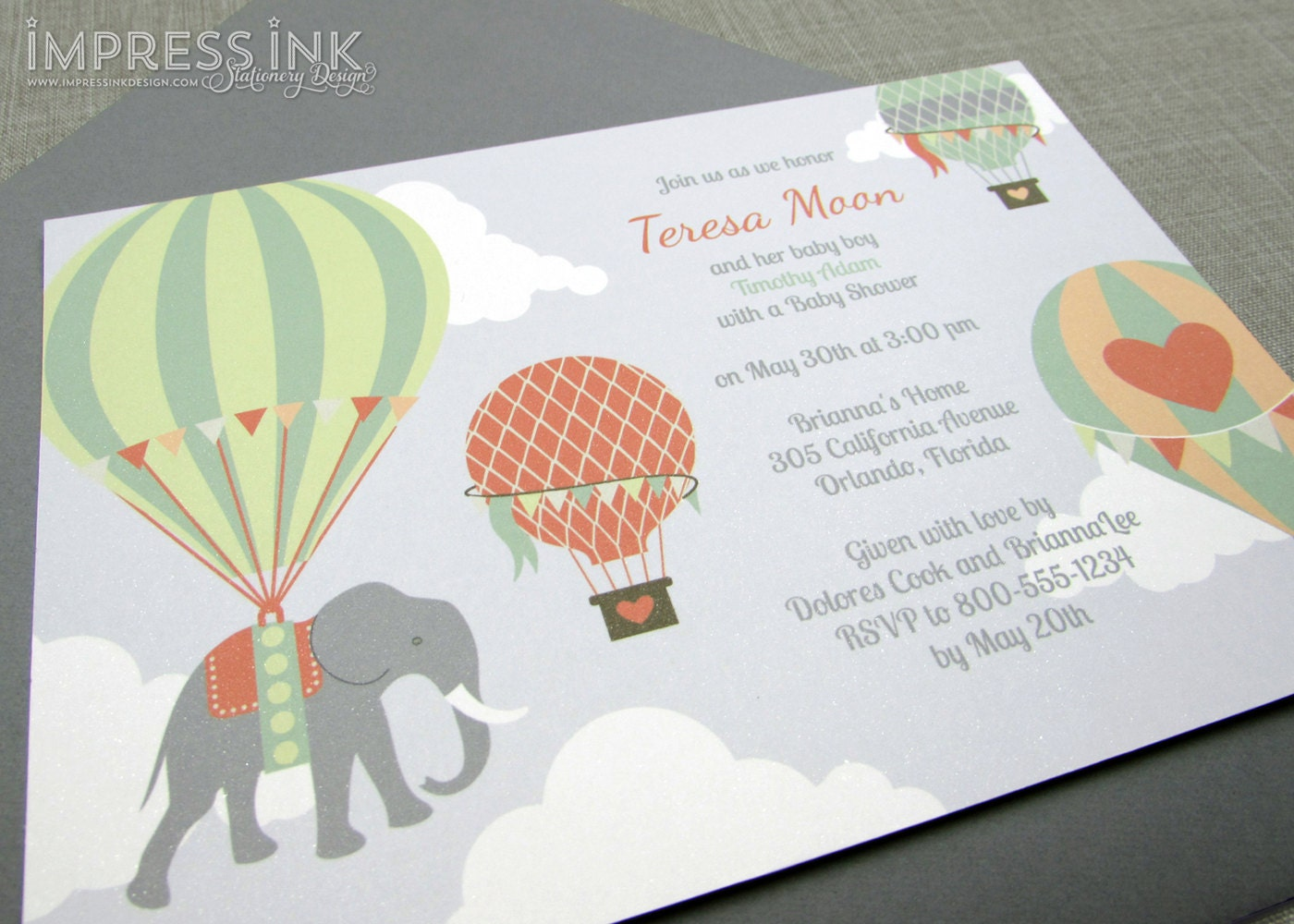 hot air balloons and elephant baby shower invitation sample