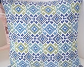 """Tribal Designer Fabric in Blue and Green 20"""" Throw Pillow Cover."""