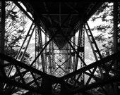 Black and white bridge photo, bridge canvas, bridge print, Deception pass photo, Washington Canvas, black and white photo, oversized print