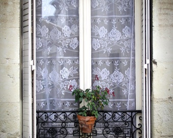 French window print, Paris print, Paris photo, French window with lace curtains, window canvas, window print, rustic window shutters
