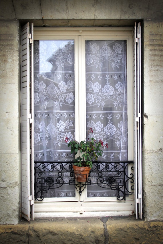 Photo canvas or print french window with lace by for French country window shutters