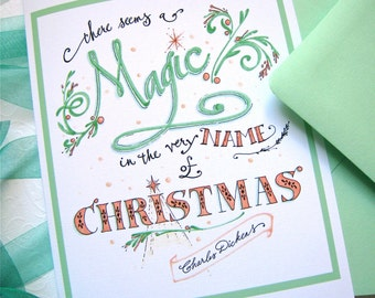 Magic Christmas Cards - Literary Christmas Cards - Dickens Quote - Boxed Set of 10 Cards