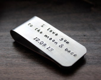 Personalized Money Clip, I Love You To The Moon & Back, 10th Anniversary
