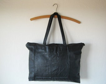 MADE TO ORDER Eco-Friendly Black Leather Zippered Tote