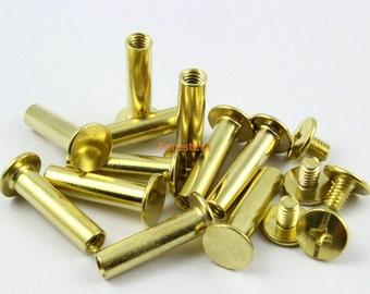 25Pcs 9x20mm Brass Plated Chicago Screw Stud Rivet Belt Strap Fastener (BCHI20)