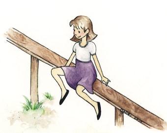 ACEO Girl on Fence giclée print / Art Card