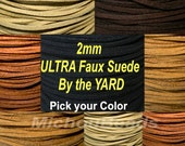 2mm ULTRA Faux Suede Lace Cord - 2x1.5mm Micro Fiber Suede Leather Cord by the Yard - Pick COLOR / LENGTH - Instant Ship from Usa