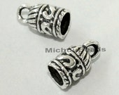 26 Tibetan Style 10mm Antiqued SILVER Cord End Tip - 10x7mm w/ 5mm Large Hole GLUE In Cord Tip Crimp w/ Loop - USA - Instant Ship - 5513