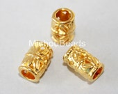 5 Bright GOLD 9mm Flower TUBE Beads - 9X5mm Tibetan Style Large 3.2mm Hole Boho Metal Beads - Cover Crimp - USA Wholesale Beads - 5714
