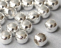 BULK 100 SILVER 3mm Micro Metal SEED Beads - 3mm Round Tiny Metal Beads w/ Large 1.5mm Hole - USa Wholesale Beads - Instant Ship - 5502