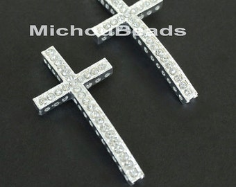 1 SIDEWAYS 46mm Silver Rhinestone CROSS Connector Charm Link - 46x25mm  Lead Free Sideways Clear Crystal Rhinestone Pave Curved Cross - 5709