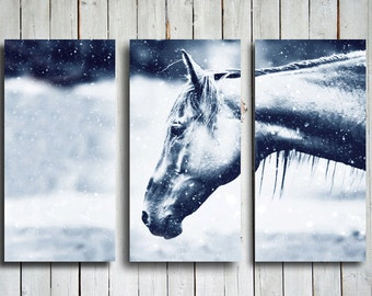 Snow Horse Collage - Horse Collage - Blue Collage- Horse decor - Horse photography - Animal photography