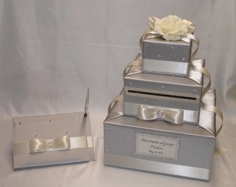 Silver and Ivory Wedding Card Box-Guest book and Pen set-any color