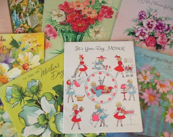 Vintage (7) Mother's Day Cards Paper Ephemera Used 50's(item 12)