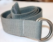 D Ring Belt Gray Webbing Belt Mens Grey Belt Womens Grey Belt Grey Slide Buckle Belt Grey Web Belt
