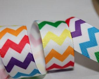 Rainbow Chevron Ribbon 7/8 inch, Rainbow Grosgrain Primary Color Ribbon Chevron Grosgrain Ribbon Rainbow Striped Ribbon Craft Ribbon