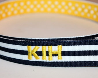Personalized Navy and Yellow  Belt Girls Embroidered Reversible