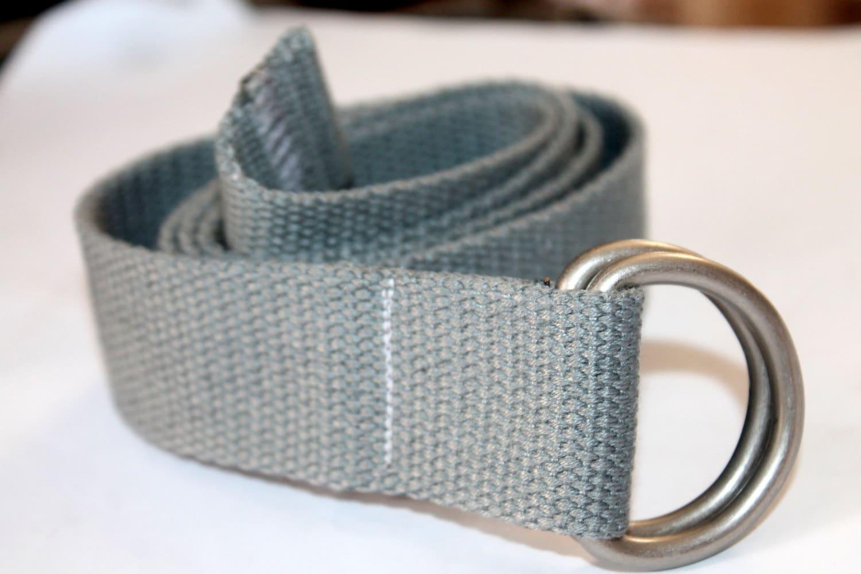 D Ring Belt Gray Webbing Belt Mens Grey Belt Womens Grey Belt