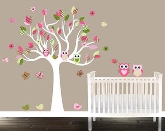 Nursery Owl Wall Decal baby Tree Birds Owls Nursery Tree pinks decal