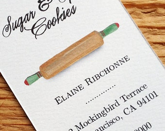Business Card for Baker with Vintage Rolling Pin, Set of 50