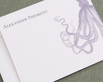 Vintage Octopus Flat Notes, Personalised, Set of 15