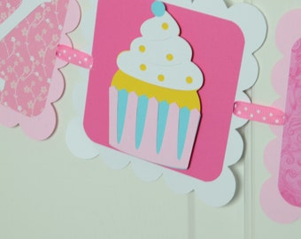 Cupcake Banner, Happy Birthday Banner, Cupcake Theme, Birthday Decoration, Pink and Hot Pink Theme