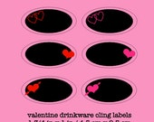 Valentine Chalkboard Drink Labels - Drinkware Cling Labels - Oval Chalkboard Labels for Valentine, Wedding, Bridal Shower - Reusable