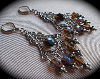 Beaded Chandelier Earrings with Czech glass beads and lever back closures Dark Brown Aurora Borealis Earrings Wedding Jewelry