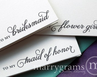 To My Bridesmaid, Maid of Honor, Wedding party Wedding Thank You Gift Cards - Bridesmaid Cards,  Bridesmaid Gift Thank You Note CS05