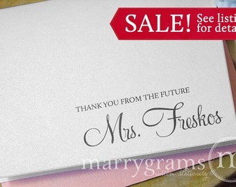 Wedding Bridal Shower Thank You Cards, Thank You From the Future Mrs. Thank You Notes Pink, Purple, Gold, Silver, Navy, Blue Gift (100ct)